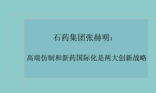 石药张赫明:高端仿制和新药国际化是创新战略
